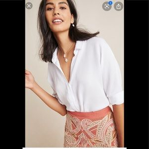 Anthropologie Cloth & Stone Collar Button down Top